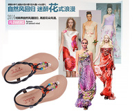 2014 new summer in Europe and America with antiskid Beaded Rome female cold flat shoes Bohemia wind slippers