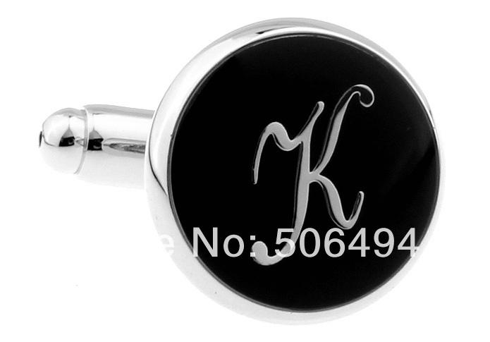 fantasia abotoaduras novo prata preto letra k abotoaduras l310 para a camisa(China (Mainland))