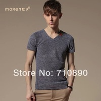 Free Shipping Fashion Brand New Men's V-Neck Tops, Fashion tees Short Sleeve Casual T-Shirt