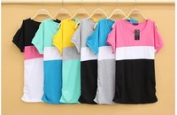 Free shipping  MIX ORDER  wholsale fashion New 2014 Fashion Neck strapless looseshort-sleeved t-shirt bat 10PC/LOT ,HY03