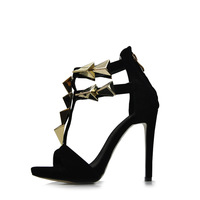 Free shipping European and American trade GZ new sandals metal buckle high-heeled shoes women sandal brand shoes woman