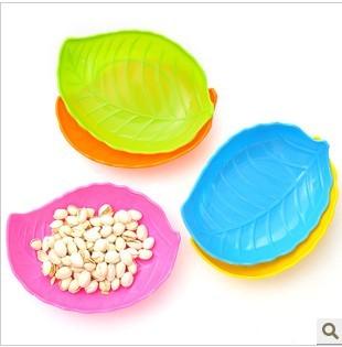 6 pcs / embalagem 2884 chromophous - 2887 moda das folhas em forma de lanche bandeja sementes prato de frutas bandeja doce de mel?o plástico(China (Mainland))