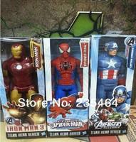 "3pcs 12""30CM Marvel Heros Captain America/ Iron man/spider-man  Superhero PVC Action Figure Toy new arrival"
