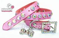 1pcs/lot Dog Collar Pet Collar Genuine Leather Luxury Crystal Bone Charm XXS Puppy Small Dog Collar Pink Necklace Collar