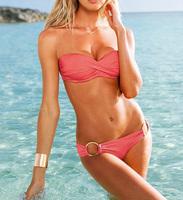 Summer 2014 Strapless New Fashion Swimwear with Cup Iron Hoop Underwear Bikinis Set Sexy Women Beachwear Swimsuit 9 Color h0347