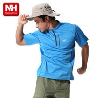 Naturehike Mans Outdoor Leisure Sports quick dry T-shirt short sleeve zipper stand collar fast speed drying fabric shirt BD02-M