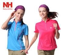 Naturehike Womans Outdoor Leisure Sports quick dry T-shirt short sleeve zipper stand collar fast drying fabric shirt BD02-W