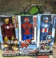 "30pcs 12""30CM Marvel Heros Captain America/ Iron man/spider-man  Superhero PVC Action Figure Toy new arrival"