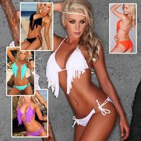 New 2014 high quality fashion designer tassel sexy brands swimwear solid color bikinis set  bathing suit women swimsuit h0334