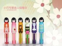 Japanese kimono doll umbrellas / Flower Blossom Painting Folding Rain Umbrella with Bottle Shape + Free Shipping