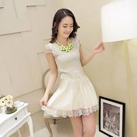 Free shipping+ 7291306 2014 summer gentlewomen fashion organza lace one-piece dress