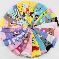 40pcs=20pairs/lot meias femininas spring 2014 Cartoon socks female short socks cute sock slippers thin cotton socks for women