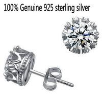 Wholesale Genuine 925 sterling silver crystal fashion earrings wedding jewelry for women or men 4L314