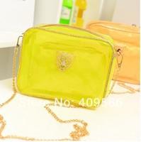 2014 new arrivel Candy-colored ladies handbag Korean version of Leopard head beach chain shoulder bag messenger packet  small