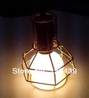 Perfectshow Minimalist 1-Light Mini Hanging Pendant Hexagon Wire Cage Guard,Golden