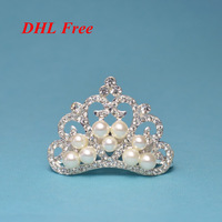 DHL Free Large Rhinestone Button Embellishment Crystal Pearl TIARA CROWN Flat Back Button Hair Accessories 50*34mm 100pcs