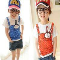 Summer children's clothing female child girl's short-sleeve rabbit suspenders print T-shirt,Free shipping,D187