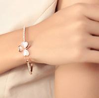 Propose Gift! Sweet And Stylish Cat Eye Stone Three Leaf Clover Charms Bracelet Gold Women Bangle AB315