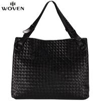 Woven knitted women's sheepskin handbag shoulder bag fashion handbag genuine leather handbag women's fashion star style