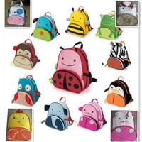 B-10 Children School Bag Cartoon Animal Owl Giraffe Ladybug Canvas Backpack Baby Toddler Kids Shoulder Kindergarten Schoolbags