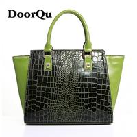 Doorqu women's genuine leather handbag bag bags big bag crocodile pattern casual cowhide handbag