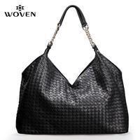Woven women's genuine leather handbag woven bag big bag one shoulder chain women's handbag fashion