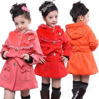 Children's clothing snowsuit  girls winter korean tweed coat  New Year winter clothing coat