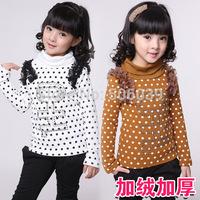 Children's clothing female child 2014 spring plus velvet thickening dot child fleece thermal outerwear t-shirt basic shirt