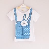 5pcs/lot Summer children's clothing female child girl's short-sleeve rabbit suspenders print T-shirt,Free shipping,D187