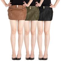 New arrival 2014 autumn women's slim casual culottes PU women's short skirt female plus size skorts