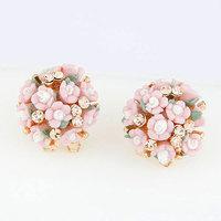 New 2014 Fashion OL Design Shiny Resin Flower with Crystal Stud Earrings bijoux Earring for Women Men Jewelry Accessories