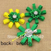 Trail order Brazilian satin ribbon flower brooch DIY grosgrain ribbon flower clip baby kids hairpin hair accessories 36pcs/lot