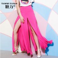 Sugar street fashion summer pleated expansion bottom chiffon bust skirt high vent placketing half-length full dress