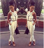 2014 New bandage dress Women Sexy Hollow Out vestidos White/Black Nightclub Dresses S M L