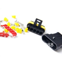1X 5P Waterproof Car Electrical Wire Connector Terminal Plug Spring Insert Kit   FREESHIPPING  DH
