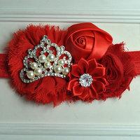 2014 new Baby Girl Hairband Baby Headband Newborn Headband Toddler Headband Gorgeous Crown and Flowered Baby Headband 2pcs/lot