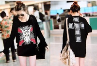 2014 New fashion plus size women clothing t shirt  punk sexy tops tee clothes Long sleeve batwing T-shirt  Y03094