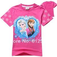 Free Shipping(6pcs/lot) 100% cotton short sleeve summer girls kids t shirts child frozen t-shirts kids elsa cartoon tees