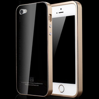 No Screws Luxury Tempered Glass + Aluminum Frame Case For apple iPhone 5 5S 5G For iphone5 iphone5S Metal Phone Bag Cover