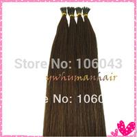 "20"" Remy Stick Tip Human Hair Extensions straight  #4 medium brown 0.5g/strand 100 strands/set"