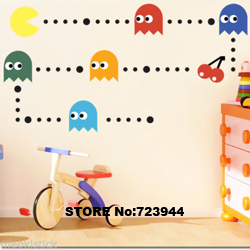 Pacman Kids Wall Sticker Home Decor Wall quotes Nursery Wall Decal removable wall murals brick wallpaper decorative stickers(China (Mainland))