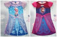 2014 New Frozen Dress Elsa & Anna Summer Dress Short Sleeve  Hot Princess Dresses  Girls Dress Free Shipping