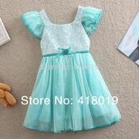 девушки кружева платье 2015 летом vestidos белый лук бренда Дети Детская одежда костюмы элегантные платья для девочек