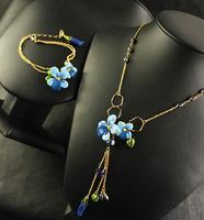 Free Shipping /L-E-S / Blue flower series (necklace, bracelet)