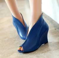 2014 unisex shoes open toe sandals wedges boots british style women's gladiator shoes high-heeled shoes