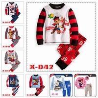 "Retail!! Caluby"" Boys Girls autumn -summer Lycra Pajamas Children Clothing sets cars best friends Pyjamas"