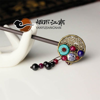 Hair stick classical vintage handmade chinese style tassel hair maker hair accessory hairpin wood accessories