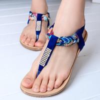 2014 bohemia beaded flip flip-flop sandals flat women's shoes flat heel