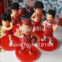 New 2014 Japan anime Basketball pvc action figures set SHOHOKU Basketball team Rukawa,Sakuragi, Akagi,Mitsui cute Car Accessoies