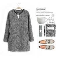 new Korean fashion temperament elegant style leather stitching linen dress,free shopping